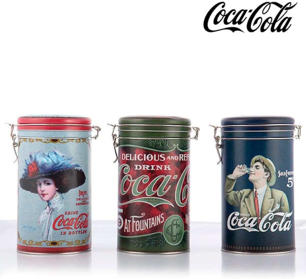 Scatola rotonda in latta per caff/è//te o altri oggetti da cucina con righe multicolori effetto legno vintage e coperchio a clip