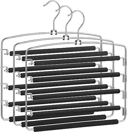 Color Plateado y Negro Set de 3 3 Unidades, 5 en 1, Ahorra Espacio, Antideslizante Relaxdays Juego de Perchas