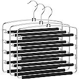 SONGMICS Pants Hangers Space Saving, 5 Layer Pants Hangers, Set of 3 Multiple Pant Hanger, Pants Organizer Hanger, Swing Arm