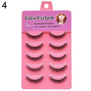84656e7aedb Amazon.com : YuYe 5 Pairs Cross Lengthen False Eyelashes Natural Looking  Fake Lashes Eye Makeup - 4# : Beauty