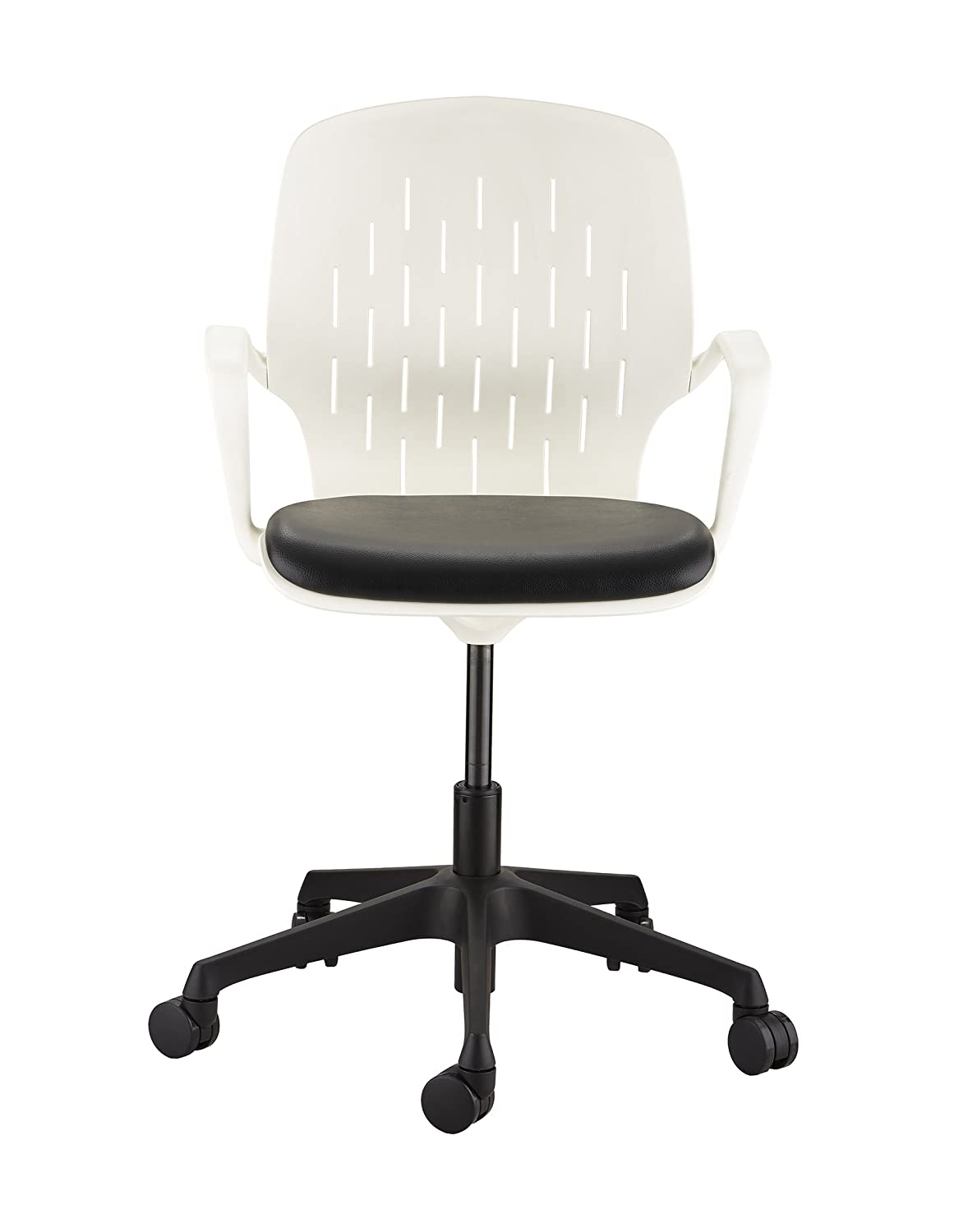 Safco Shell Height-Adjustable Desk Chair, White