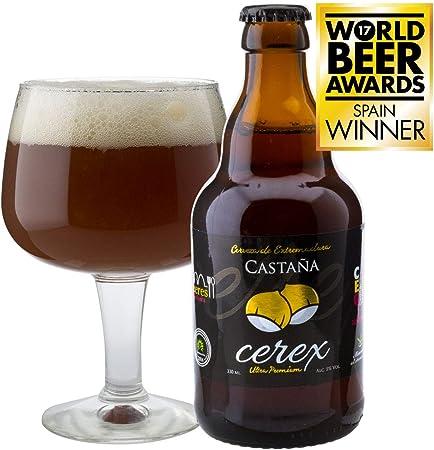CEREX - Pack Degustación de 4 Cervezas Artesanas Españolas con caja regalo de presentación en madera – Cervezas de Cereza, Castaña, Ibérica de Bellota y Pilsen
