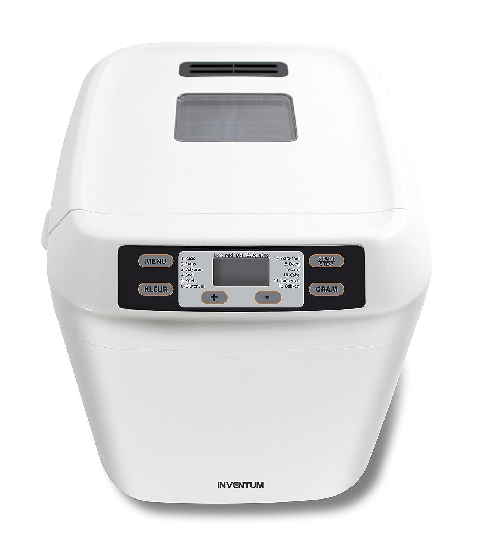 Inventum BM60 550W Blanco - Panificadora (Blanco, 800 g, Pastel de masa, Masa, Pan francés, Pan sin gluten, Pan de trigo, Oscuro, Medio, Luz, 13 h, ...