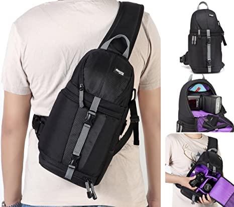 00932d5ee58 Amazon.com   Kenox Camera Sling Backpack for DSLR and Mirrorless ...