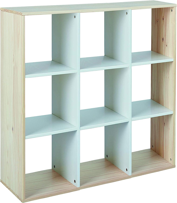 Inter Link Biblioteca Hudson 9 compartimentos, Madera, Blanco, 104.7x32.5x103.8 cm