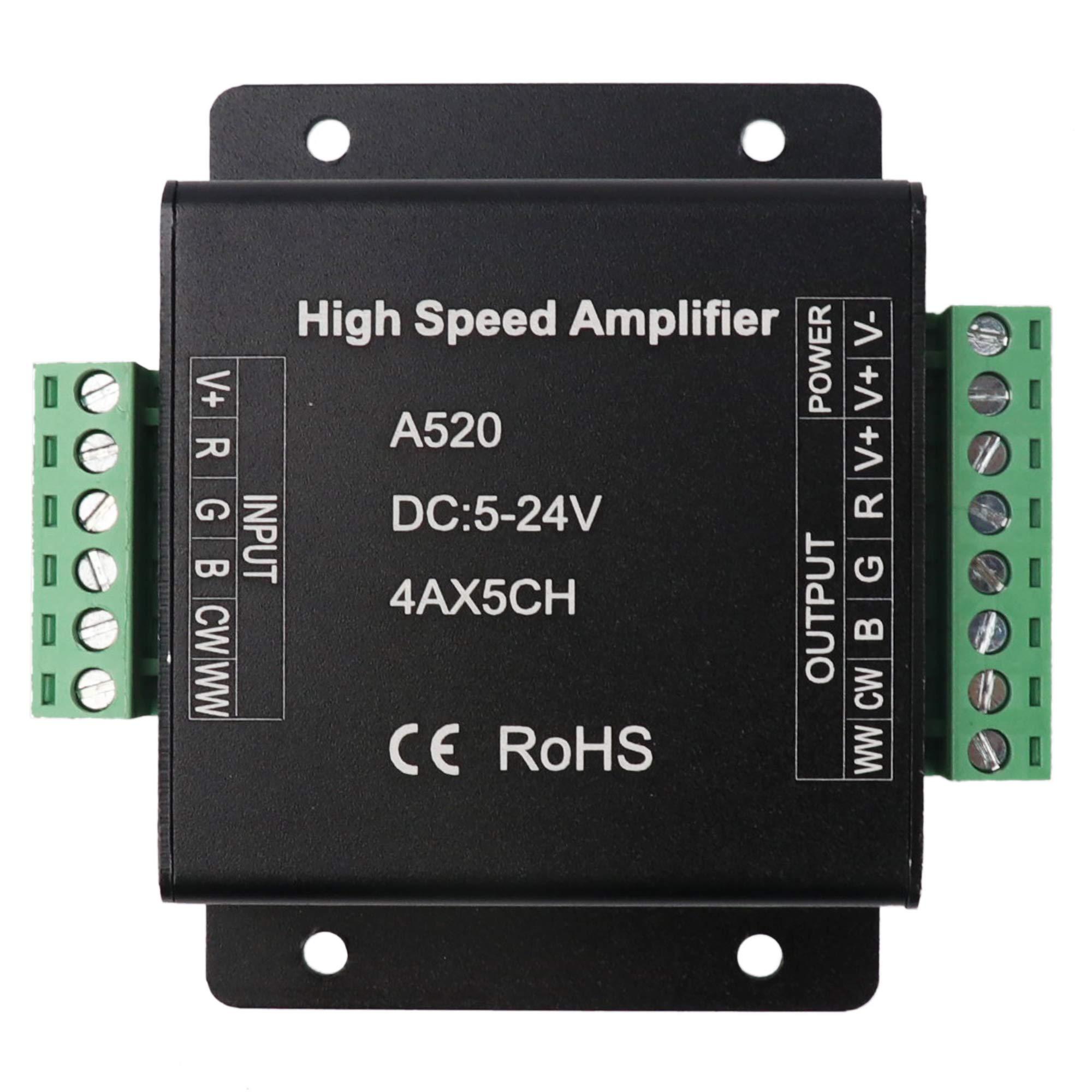 LEDENET RGB+CW+WW Amplifier 20A Data Signal Repeater 5CH Channels Circuit Aluminum Shell For RGB+W+WW LED Lights Strip 5V 12V 24V