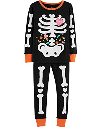 ed2ded59d Amazon.com  Girls Halloween Pajamas Glow in The Dark 100% Cotton Pjs ...