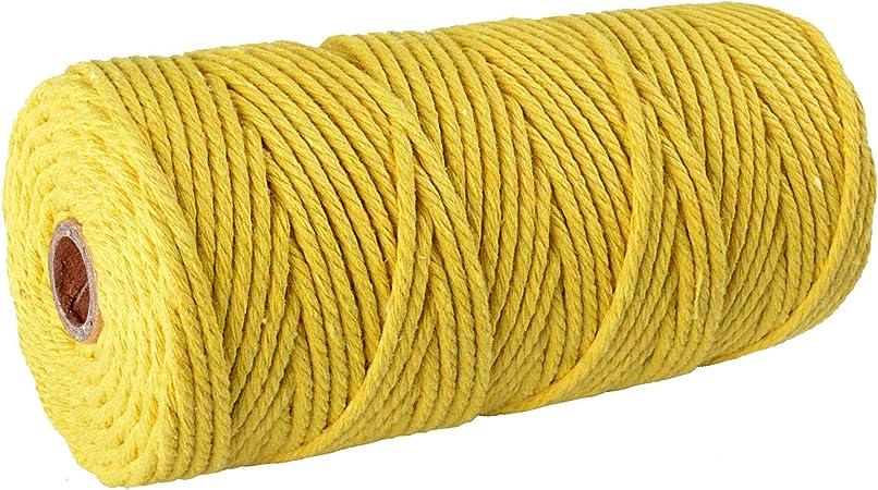 SUNTQ Cordón de macramé Algodón de poliéster trenzado de 4 hilos 3mm x 100m Cuerda de algodón suave para colgar plantas artesanales Colgar artesanías, decoración de tejer, hilo de algodón amarillo: Amazon.es: