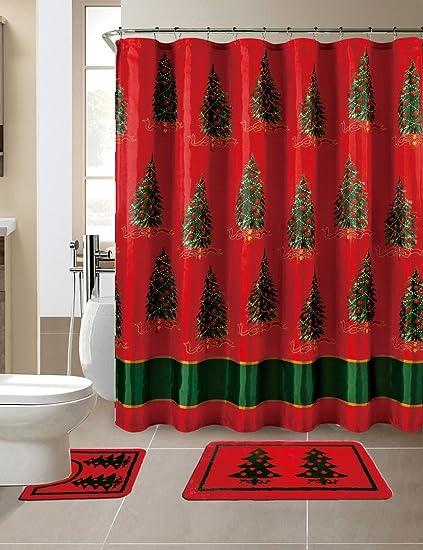 Amazon Christmas Seasons Greetings 15 Piece Shower Curtain Set