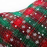 "SANNO 16"" Christmas Hanging Stockings, Plaid Stocking Craft Socks Trendy Red and Green Tartan Christmas Stocking with Snowflake decorations, 16"" Long"