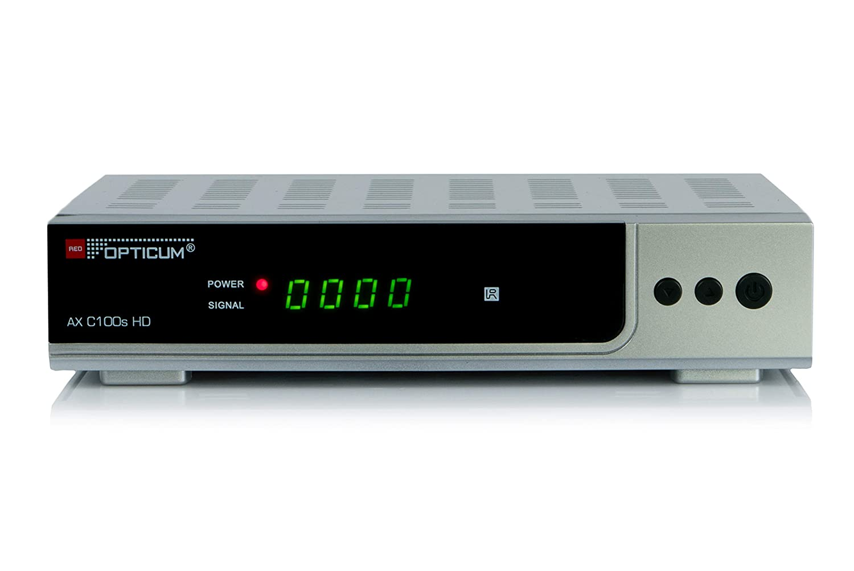 Opticum AX HD C100s Cable Alta Definición Total Plata tV set-top boxes - Reproductor/sintonizador (Cable, DVB-C, 4:3, 16:9, AVI,AVS,H.265,MKV,MP4,MPEG1,MPEG2,MPEG4,MPG,TS,VP8, AAC,AC3,MP1,MP3,WMA, BMP,JPG)