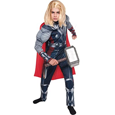 Costumes USA The Avengers Thor Muscle Costume for Boys, Size Medium, Includes a Padded Jumpsuit and an Attached Cape: Clothing