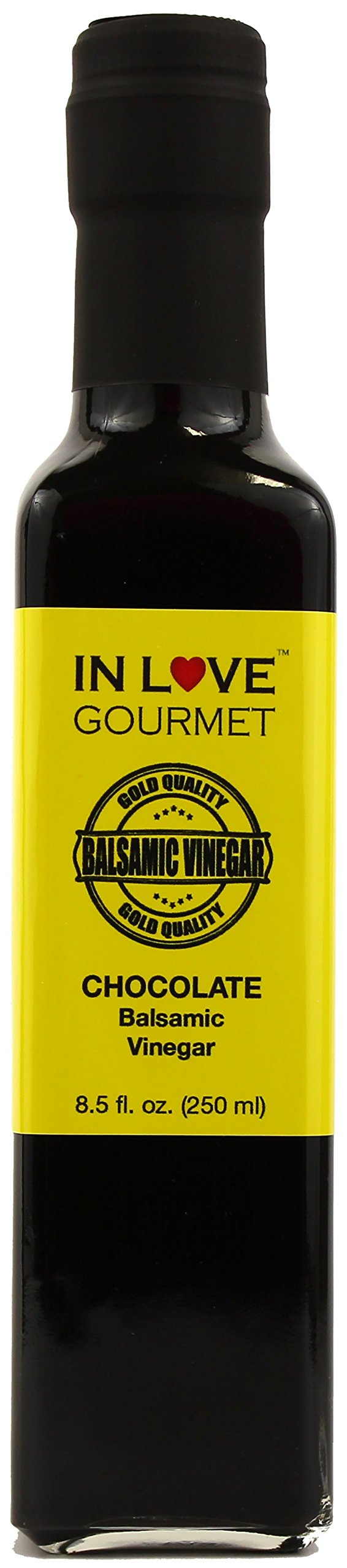 In Love Gourmet Chocolate Balsamic Vinegar 250ML/8.5oz Great on Strawberries and Fruit Salads, Amazing on Grilled Steaks and Chicken