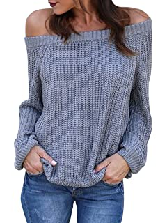 7a4bc4506dfab0 Geckatte Womens Off The Shoulder Oversized Sweater Knit Fall Loose Pullover  Jumper