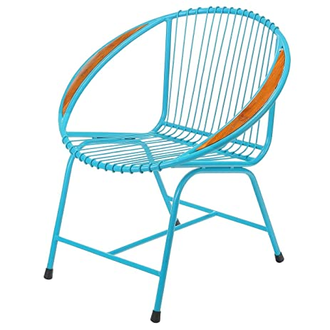Metal Modern Chair, Brooklyn Wire Outdoor Patio Metal Chairs   Blue With  Arms