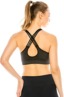 product image for Kurve Women's Workout Sports Bra - Strappy Sexy Back Crop TopMade in USA
