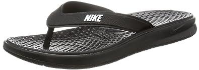 c0207352f Nike Women's Solay Thong Flip-Flop, Black/White, 6 Regular US