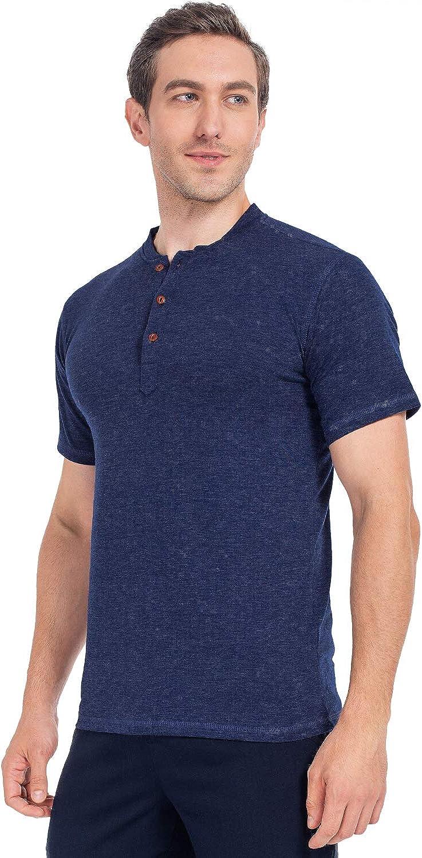 Mens Casual Henley T-Shirts Short Sleeve Baseball Cotton Tee Tops