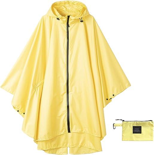 معطف مطر نسائي مقاوم للماء مع غطاء رأس بسحّاب للمشي في الهواء الطلق وركوب الدراجات