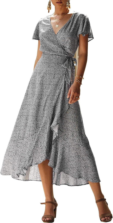 Womens Summer Holiday Polka Dot Dress Ladies V-Neck Long Wrap Sundress Size 8-26
