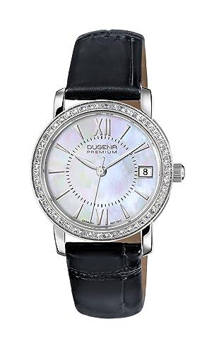 Dugena Damen-Armbanduhr Rondo Petit Stone - Traditional Classic Analog Quarz Leder 7500138
