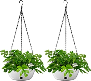 Tvird Hanging Planters Indoor Outdoor, 2-Pack 11 inch Large Plant Hanger, Self Watering Hanging Flower Pot with Drainer and Chain, White Hanging Plant Holder for Home Balcony Garden Bedroom Decor