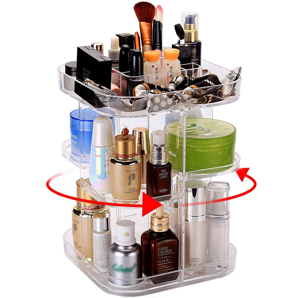 Organizer per cosmetici, Rotante di 360 Gradi, Grande Capacità, Ideale per Riporre il Tonico, le Creme, i Pennelli, i Rossetti e Molto Altro (Trasparente) Weiht Trading Co. Ltd