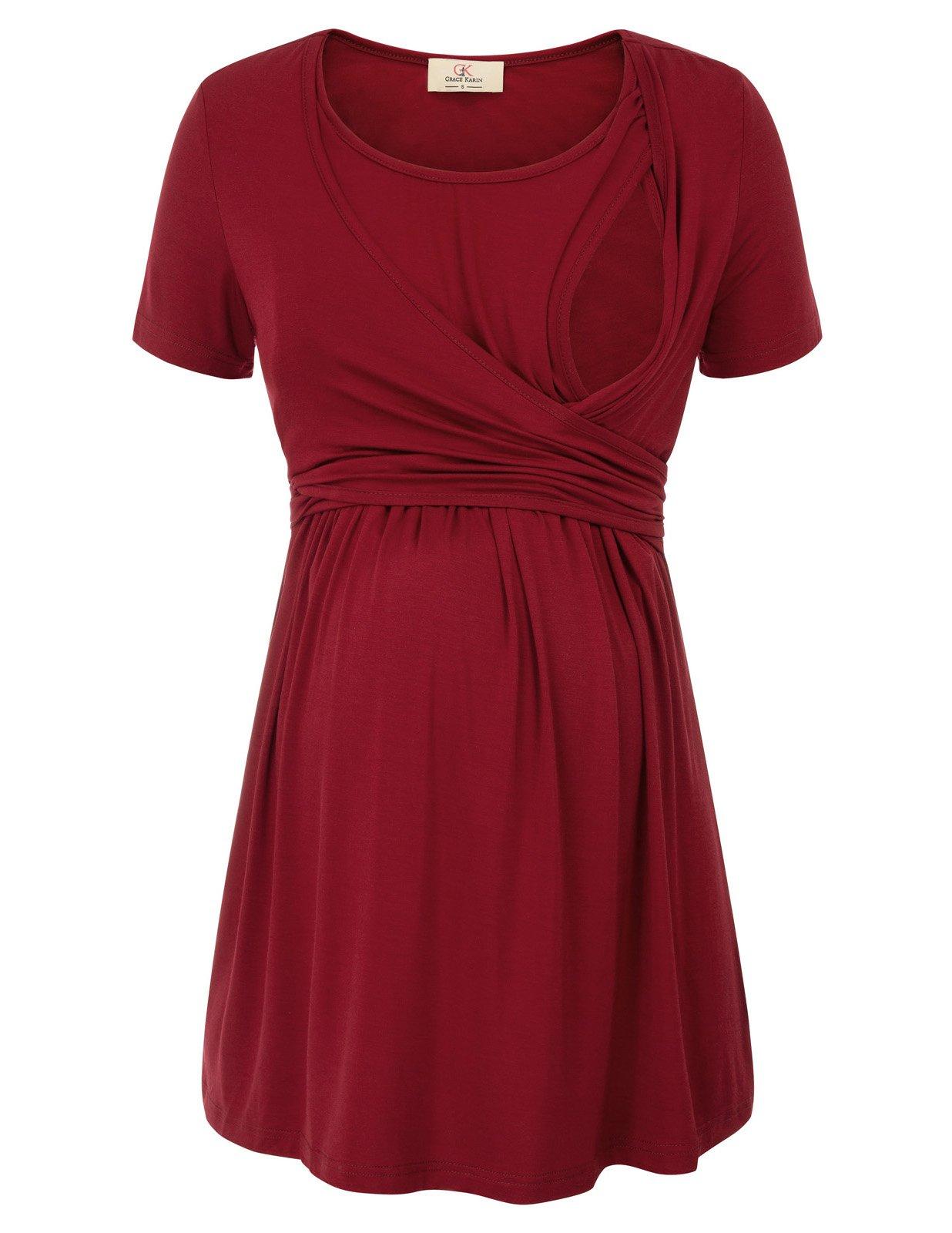 GRACE KARIN Fashion Women Soft Tie Front Nursing Tops Dark Red M