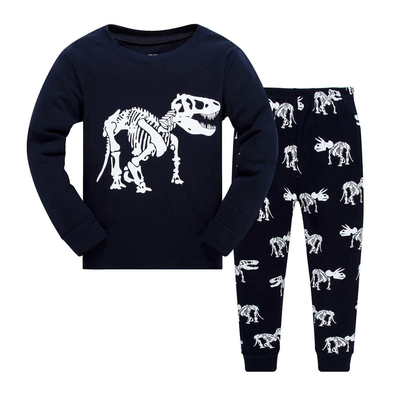 Boys Pajamas Little Kids Sleepwear 100% Cotton Dinosaur Long Sleeve Pjs Set Toddler Clothes Summer Shirts