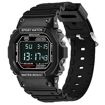 Sanda Hombre muñeca reloj digital impermeable LCD luz Deportes Relojes, Color negro: Amazon.es: Deportes y aire libre