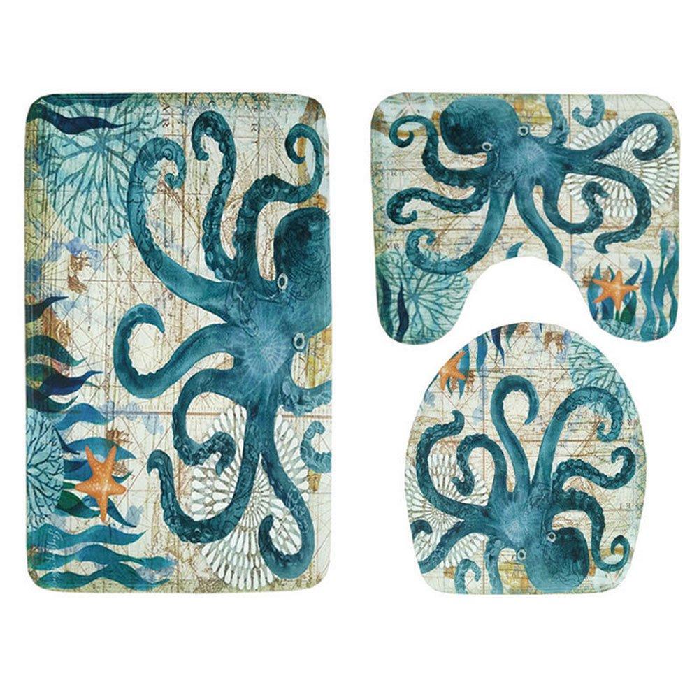 Bathroom Carpet Flooring & Lid Toilet Mat, Sea Turtle Octopus Printed Mat U pad, 3 Piece Bathroom Mat Set for & Bathroom or Living Room (Octopus Patterm)