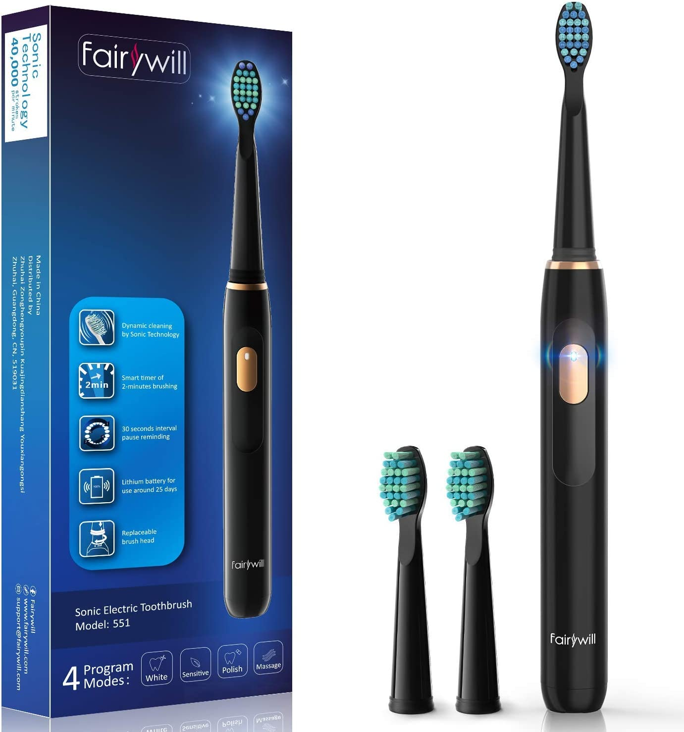 Fairywill Electric Sonic Toothbrush Rechargeable for Adults and Kids, Travel-Friendly Design Whitening in 4 Optional Modes, USB Fast Charging with Timer IPX7 Waterproof 2 Brush Heads Black