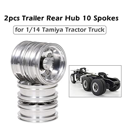 Cigooxm 2pcs Trailer Rear Hub Aluminum Alloy Rim 10 Spokes for 1/14 Tamiya Tractor Truck RC Climber Trailer: Electronics