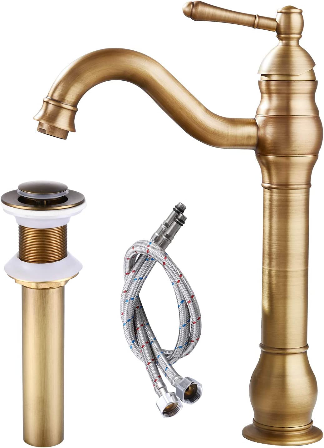 Bathroom Basin Tap Antique Brass Faucet Single Lever One Hole Vanity Sink Mixer