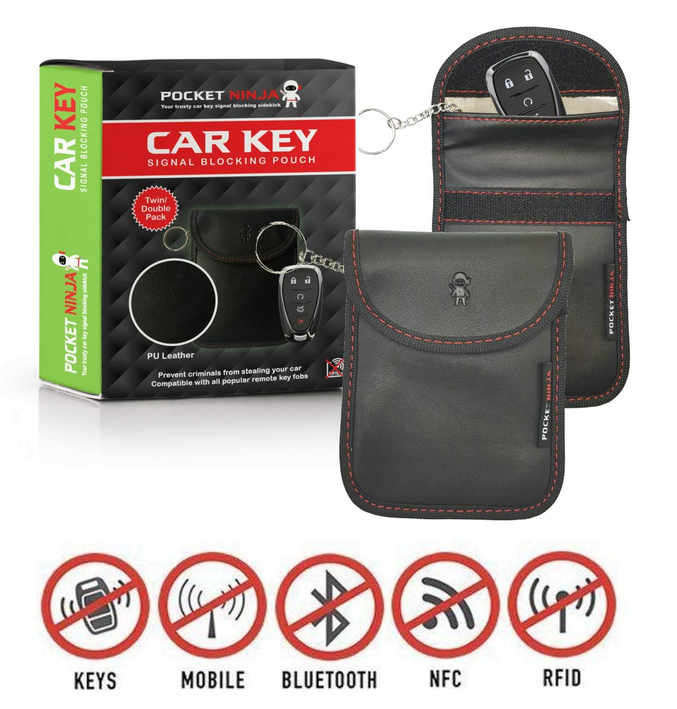 Car Key Signal blocker - Add your keys to this RFID Blocking Faraday Pouch for instant ninja protection. 2 pack (PU Leather) Also great for Cards, Passports and Phones. Project Ninja