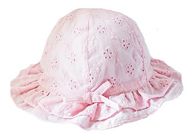 Girls Princess Bucket Hat Floral Wide Brim Headwear Summer Sun Protection  Hat Pink Hat Circumference 44cm 362fb52222d
