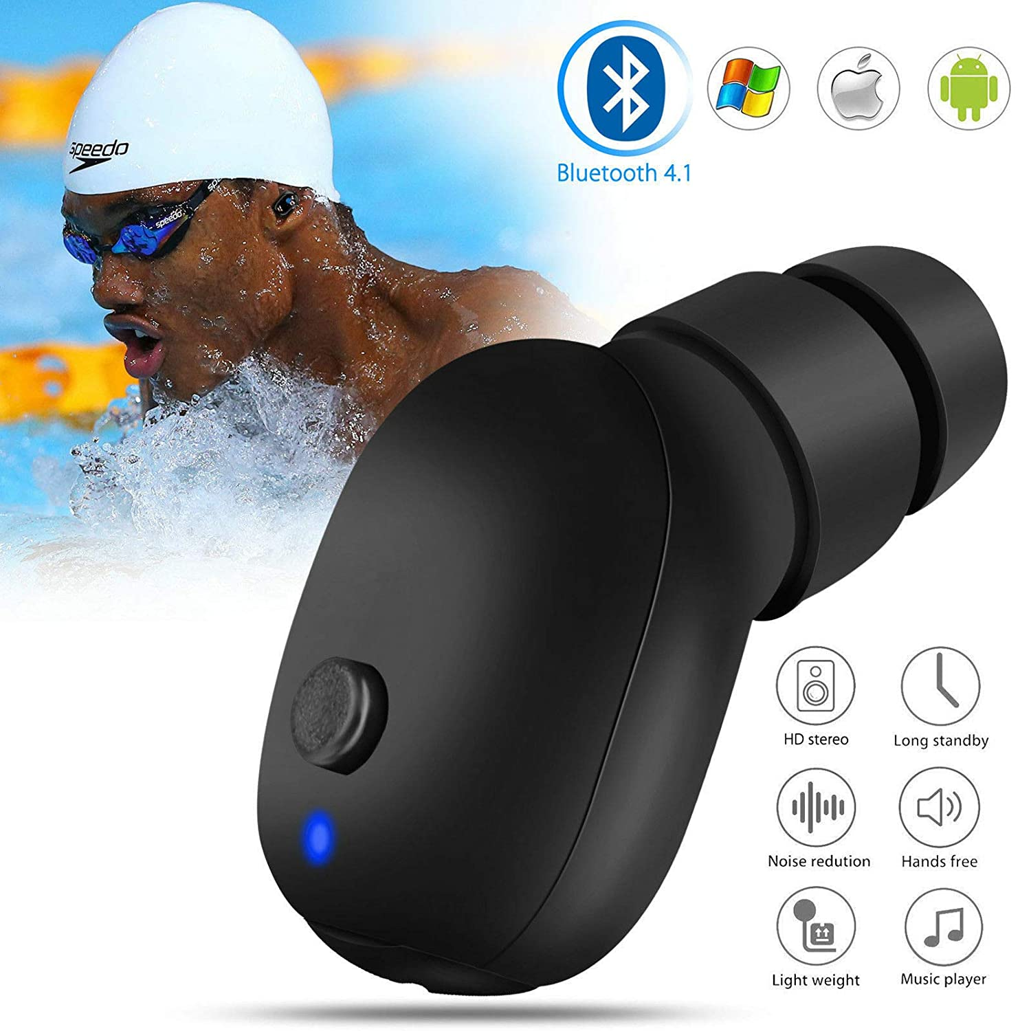 for iPhone Android Wireless Bluetooth Waterproof Single Earphone in Ear Stereo Earbud Headset