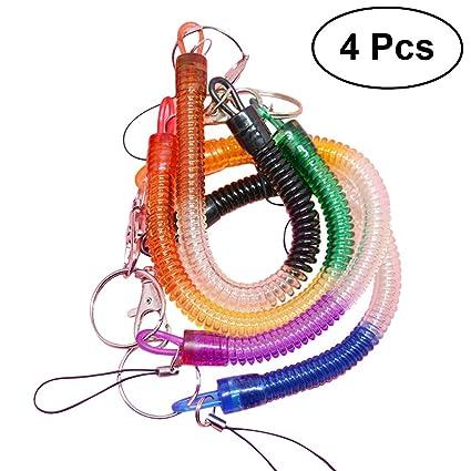 Llavero TOYMYTOY colorido primaveral en forma de espiral de resorte retráctil, 4 unidades