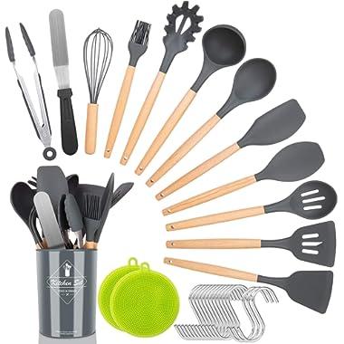 NEXGADGET Kitchen Utensil Set,30 Pieces Silicone Natural Wooden Handles Cooking Utensils,Spatula Set,Nonstick Kitchen Gadgets Set,Household Kitchen Appliances,with Holder,Hooks,Scrubber