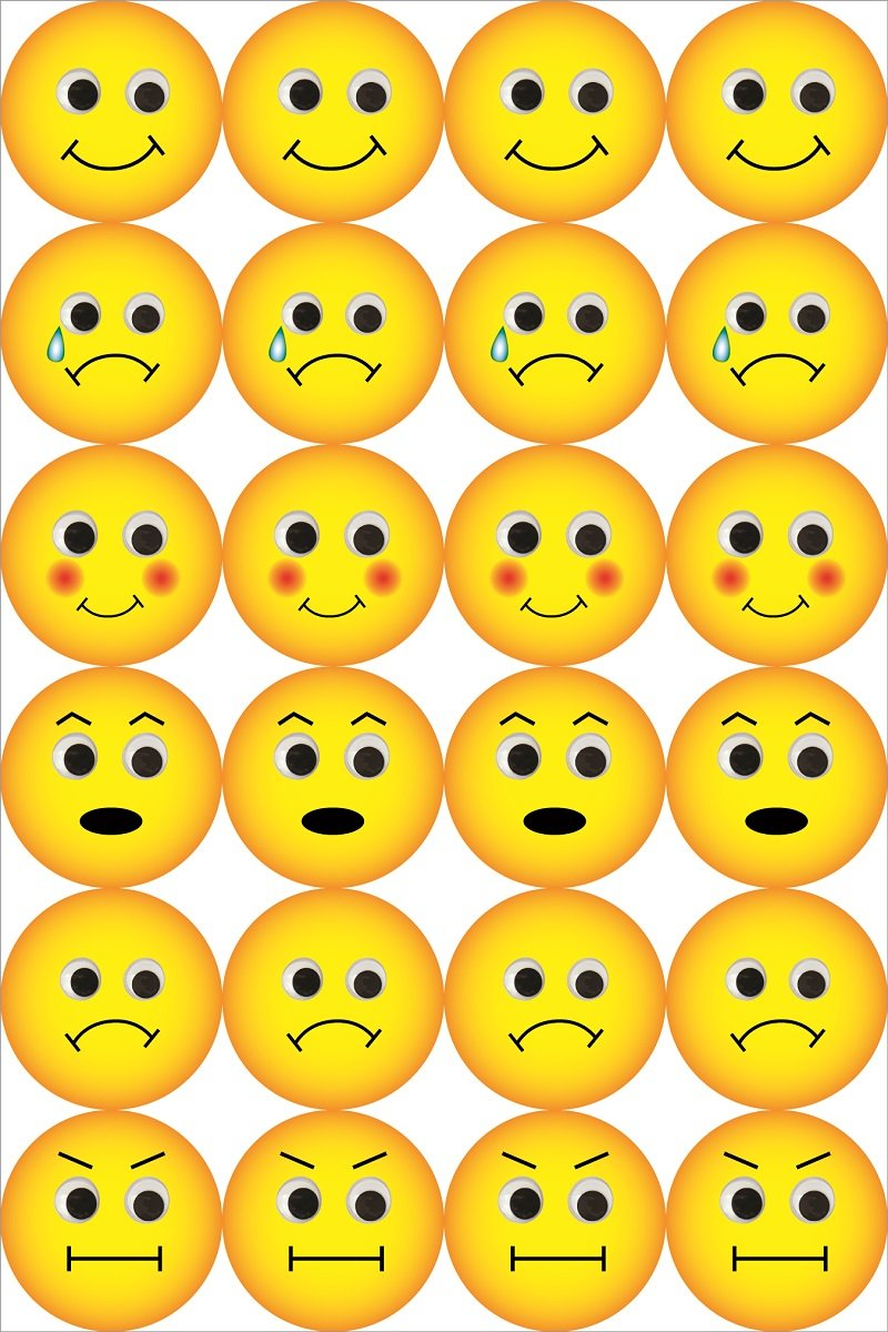 Hygloss Products Emoji Emoticon Stickers 240 Stickers 1896 3 Sheets Inc 1//2 Inch
