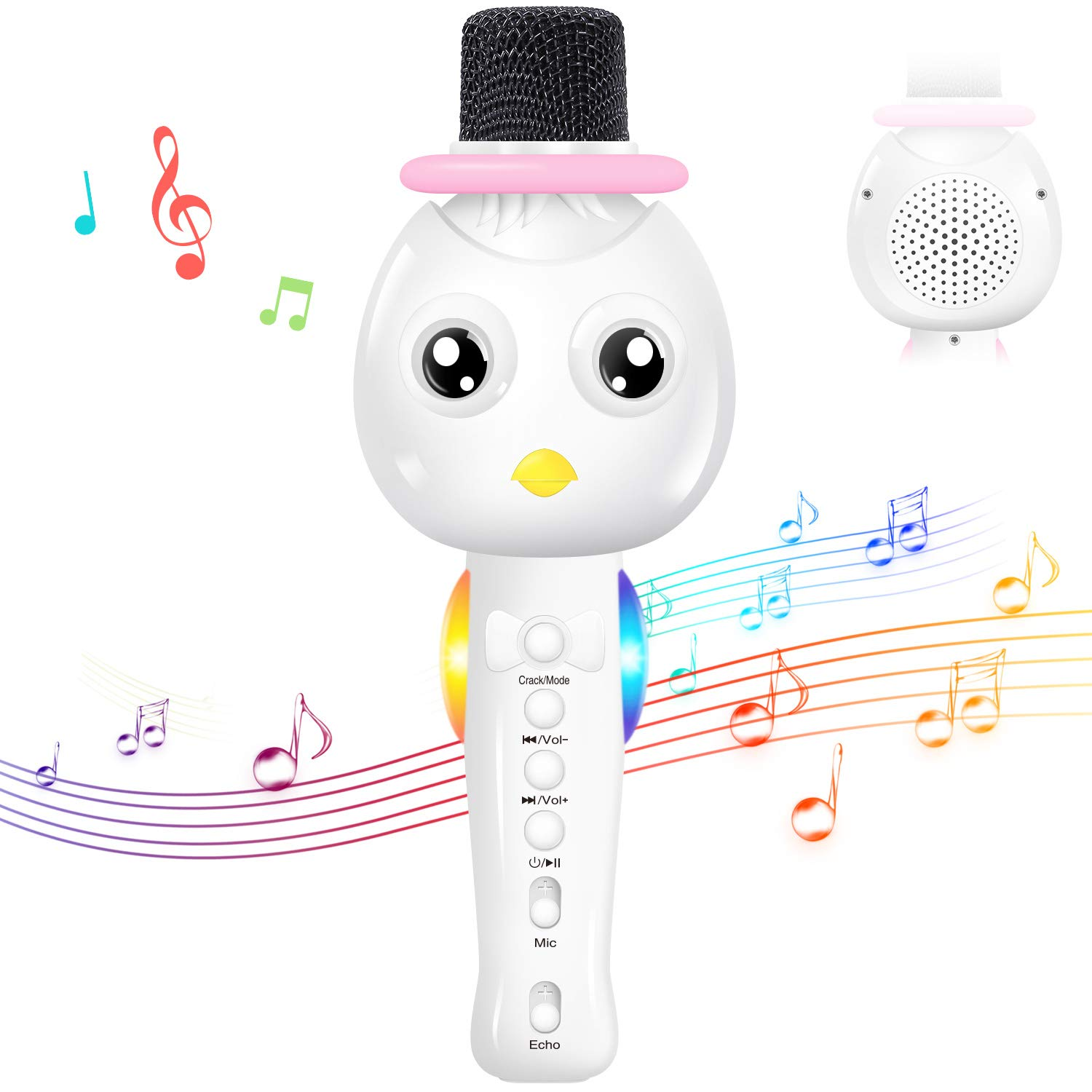 TONOR Kids Microphone, Wireless Portable Karaoke Bluetooth Mic for Kids with Speaker and Colorful Lights for Home Party KTV Birthday Gift Compatible with PC/iPad/iPhone/Android Smartphone