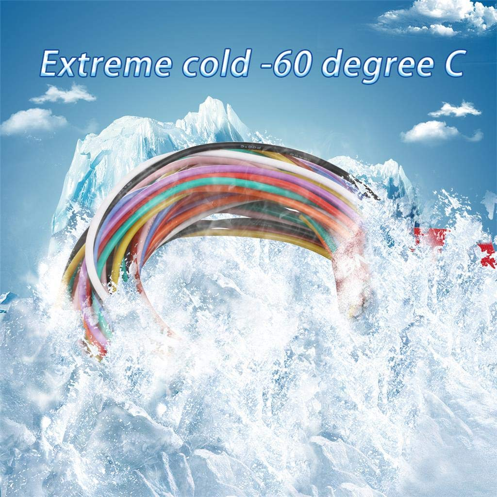 Bntechgo Calibre 20/Fil de silicone souple et r/ésistant aux temp/ératures /élev/ées tr/ès efficace 20/AWG Fil de silicone 100/brins de fil de cuivre /étam/é 10 colors
