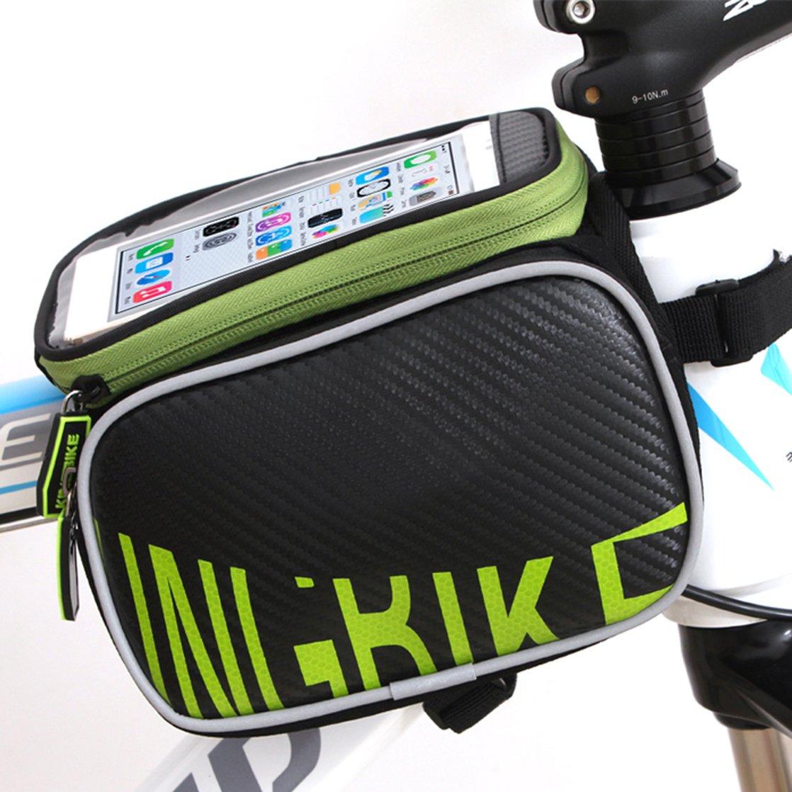 防水自転車トップチューブバッグ  グリーンアンドブラック B011K5C7A4