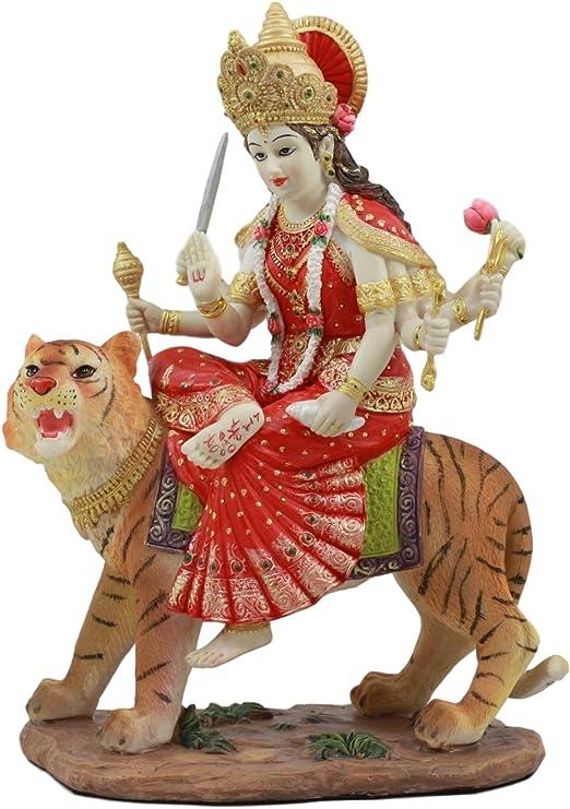 "Goddess Devi Invincible Durga The Mahashakti Riding On Tiger Figurine 8.5/"" Tall"