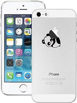 GrandEver Coque iPhone 5 / 5s / SE Silicone Transparente avec Motif ( Panda et Pomme ) Design Créatif Souple TPU Gel Bumper Kawaii Once Piece ...