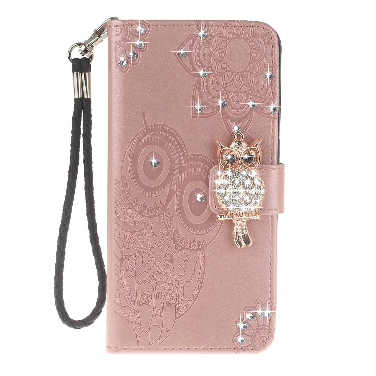 Bear Village Sony Xperia XA2 Case, Leather Case with Wrist Strap and Credit Card Slot, Owl Magnetic Closure Shockproof Cover for Sony Xperia XA2, Rose Gold by Bear Village