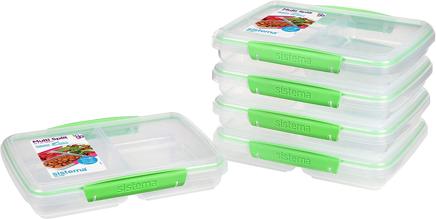 Sistema to Go Multi Split Meal & Food Dividers & Clips | 820ml | BPA-Free | 5 Storage Containers Food Prep
