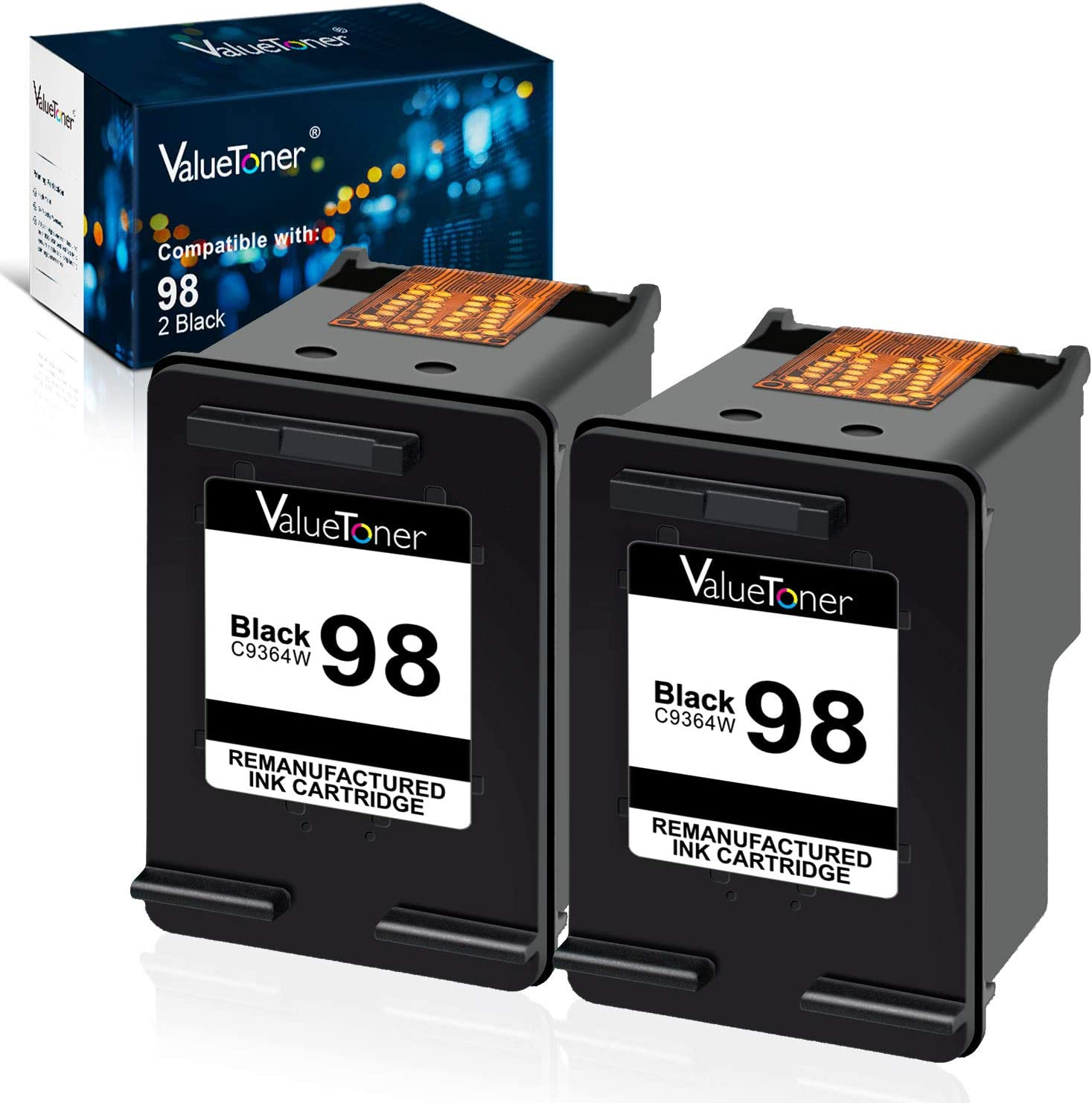 Valuetoner Remanufactured Ink Cartridge Replacement for HP 98 (C9364WN) for Officejet 150 100 6310 H470, PhotoSmart 2570 2575 8050 C4180 C4150, Deskjet 460 5940 D4145 D4155 Printer (Black, 2 Pack)