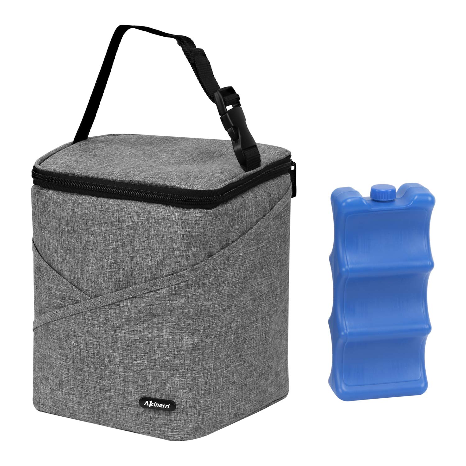 Akinerri Breastmilk Baby Bottle Cooler & Travel Bag with Ice Pack Included. Insulated & Leak Proof, Baby Bottle Tote Bags & Baby Food Bag. Easily attaches to Stroller or Diaper Bag