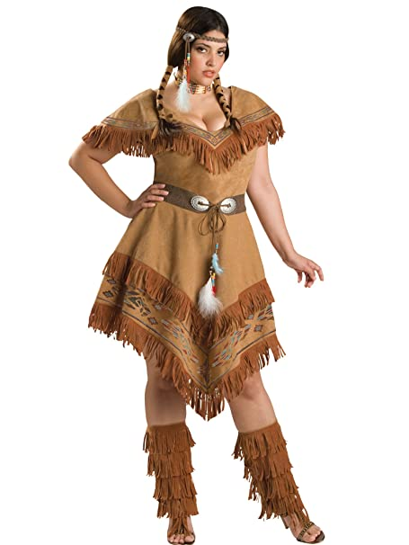 Plus Size Native American Costume Indian Brown Dress Womens